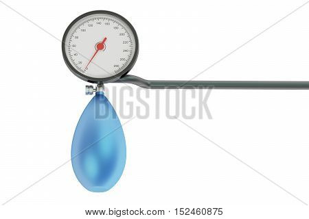 mechanical pressure-gauge sphygmomanometer. 3D rendering on white