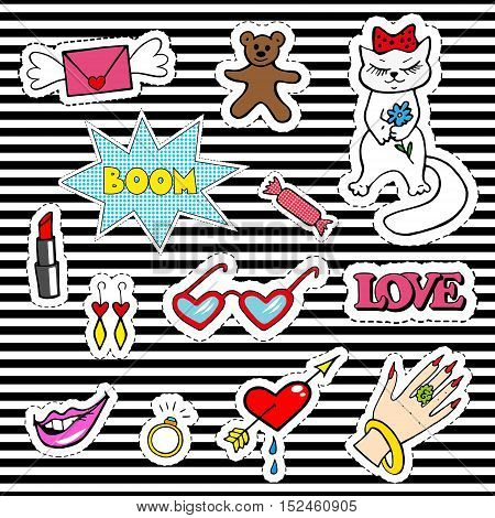 Cute fashion patch badges with lips, heart, cat, ring, sweet, teddy bear and other elements. Trendy, modern design. Set of doodle stickers, pins, in cartoon 80s-90s comic style