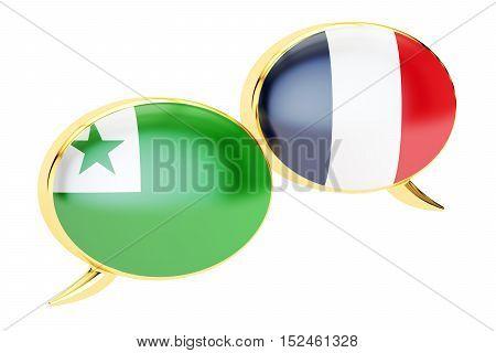 Speech bubbles French-Esperanto conversation concept. 3D rendering