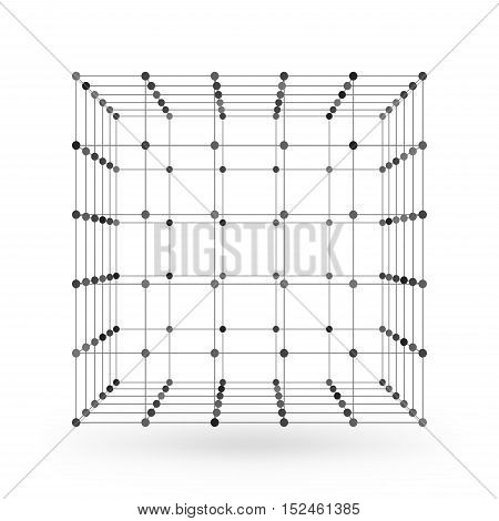 Wireframe Polygonal Geometric Element. Cube With Connected Lines And Dots. Vector Illustration On Wh