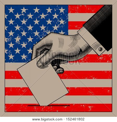 Hand putting voting paper on the USA flag background. Vintage stylized USA election conceptual drawing. Vector illustration