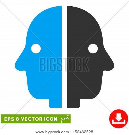 Dual Face EPS vector pictograph. Illustration style is flat iconic bicolor blue and gray symbol on white background.
