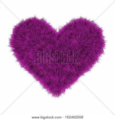 Valentine Fur Pink Heart On White Background, Vector Illustration