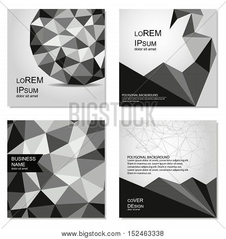 Polygonal black and white covers design. Business templates for web sites, prints, notepad, CD covers and identity design. Geometric abstract backgrounds.
