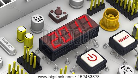2017. The message on the display electronic circuit board. Red