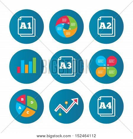 Business pie chart. Growth curve. Presentation buttons. Paper size standard icons. Document symbols. A1, A2, A3 and A4 page signs. Data analysis. Vector
