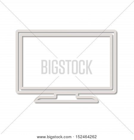 Simple Line Tv Icon on white background