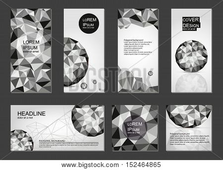 Set of black and white polygonal covers. Backgrounds in geometric style. Business templates for flyer, brochure, card, web sites, prints, notepad, CD covers and identity design.