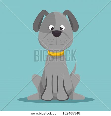 character doggy gray sitting design vector illustration