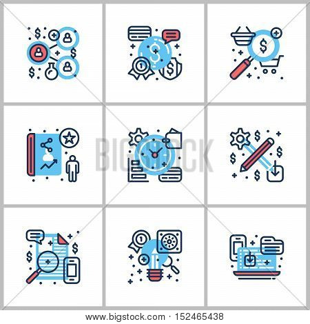 Business and Working. Set of nine icons on startup web checking statistics. Colored in gray red and blue. Flat vector illustrations