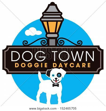 Doggie Daycare logo with street sign and lantern.