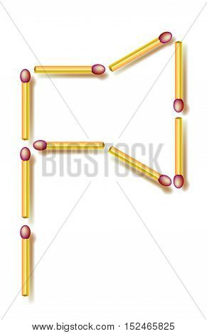 Move four matchsticks to make 3 identical triangles. Logic puzzle. Vector image.