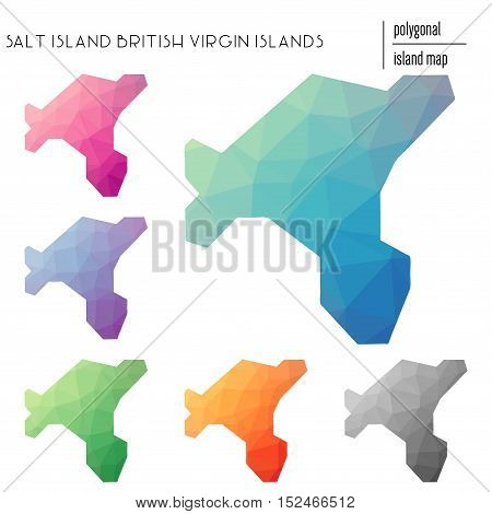Set Of Vector Polygonal Salt Island, British Virgin Islands Maps Filled With Bright Gradient Of Low