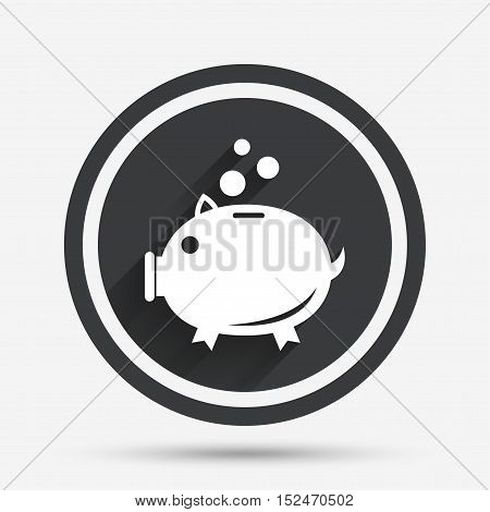 Piggy bank sign icon. Moneybox symbol. Circle flat button with shadow and border. Vector
