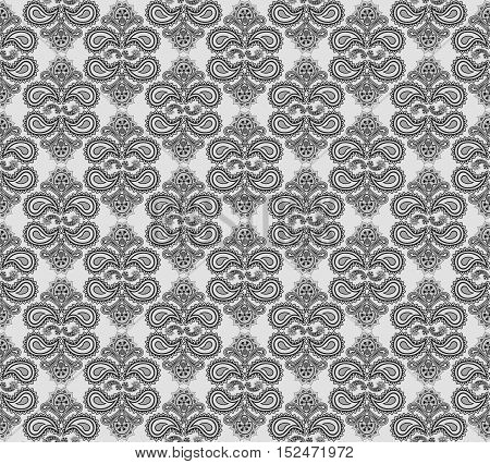 Oriental floral seamless pattern. Flower geometric ornamental background. Floral ethnic tiled ornament with flowers.