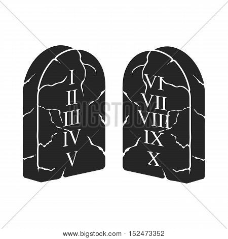 Ten Commandments icon in black style isolated on white background. Religion symbol vector illustration.