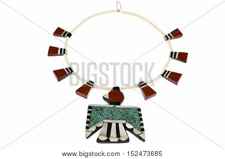 Native American Jewelry, Santo Domingo Turquoise and Coral Thunderbird and Tag Necklace isolated on white.