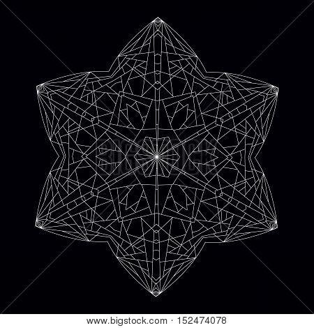 Hexagonal Black and White Star. Geometric Contour Figure Polyhedron.