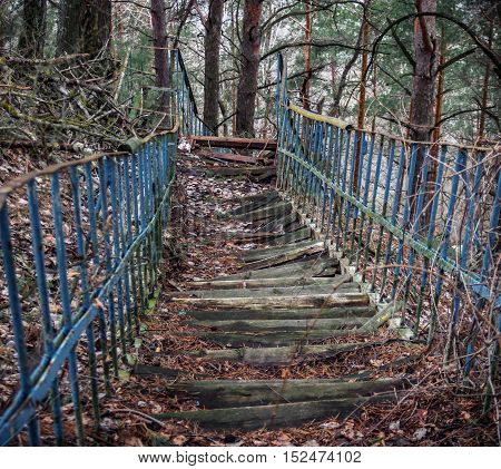 old outdoor ramshackle rotten staircase with steps