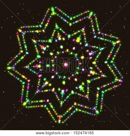 Illuminated Multi-Faceted Star. Geometric Contour Figure Polyhedron.