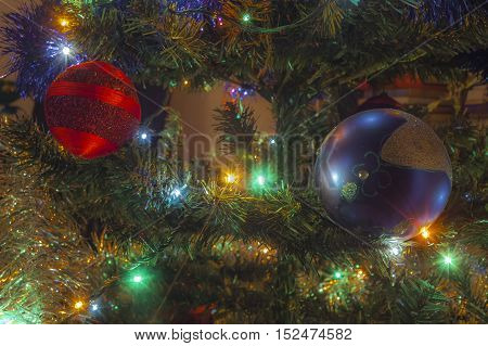 photo of Christmas tree with decoration close-up