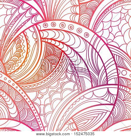 Hand drawn floral pattern. Colorful red vector seamless background with linear botanical abstract illustration. Repeating texture boho style.