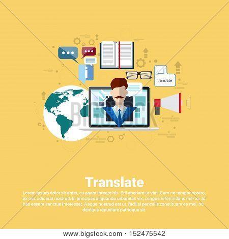 Translate Dictionary Vocabulary Technology Translation Tool Web Banner Flat Vector Illustration