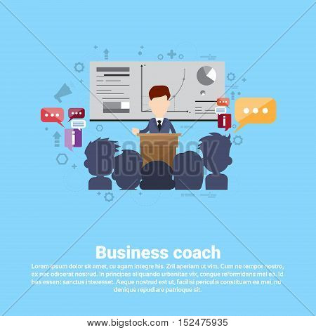 Leadership Coaching Management Business Web Banner Flat Vector Illustration