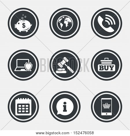 Online shopping, e-commerce and business icons. Auction, phone call and information signs. Piggy bank, calendar and smartphone symbols. Circle flat buttons with icons and border. Vector