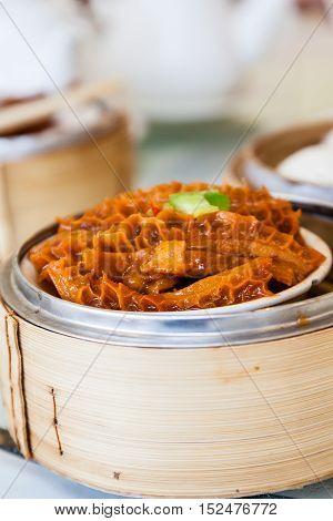 Chinese Braised Beef Tripe Dim Sum In Bamboo Steamer