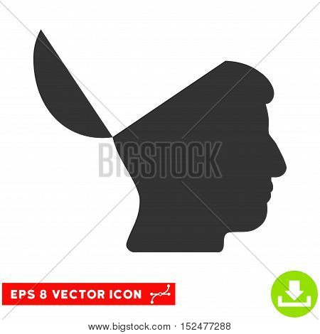 Open Mind EPS vector icon. Illustration style is flat iconic gray symbol on white background.