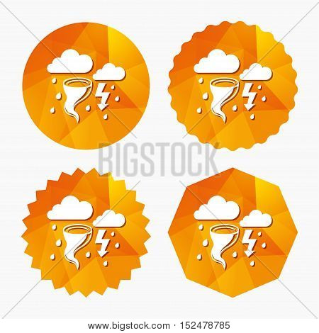 Storm bad weather sign icon. Clouds with thunderstorm. Gale hurricane symbol. Destruction and disaster from wind. Insurance symbol. Triangular low poly buttons with flat icon. Vector