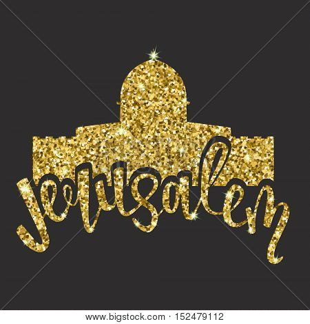 Glitter gold handwritten lettering with text