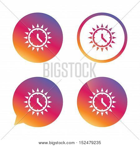 Summer time icon. Sunny day sign. Daylight saving time symbol. Gradient buttons with flat icon. Speech bubble sign. Vector