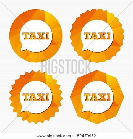 Taxi speech bubble sign icon. Public transport symbol Triangular low poly buttons with flat icon. Vector