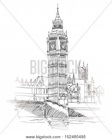 London Landmark. Landscape of London. Big Ben Tower. Hand drawn Engraving Sketch Illustration.