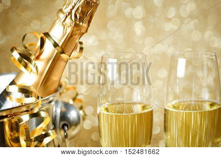 Champagne bottle in metal container,new year celebration.
