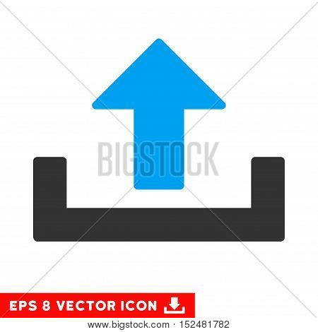 Upload EPS vector icon. Illustration style is flat iconic bicolor blue and gray symbol on white background.