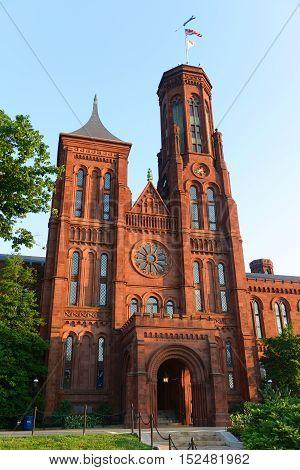 WASHINGTON DC - JUN 22, 2014: The front Victorian facade of the Smithsonian Castle in Washington, District of Columbia, USA.