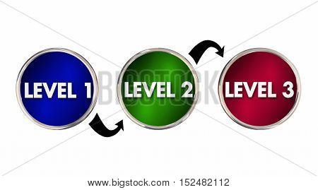 Levels 1 2 3 One Two Three Rising Up Improving 3d Illustration