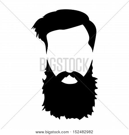 Hipster detailed hair and beards. Fashion bearded man. Long beard with facial hair. Beard isolated on white background. Vector illustration EPS10