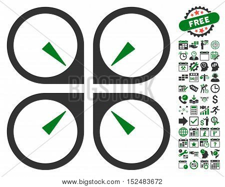 Hover Drone icon with bonus calendar and time management icon set. Vector illustration style is flat iconic symbols, green and gray colors, white background.