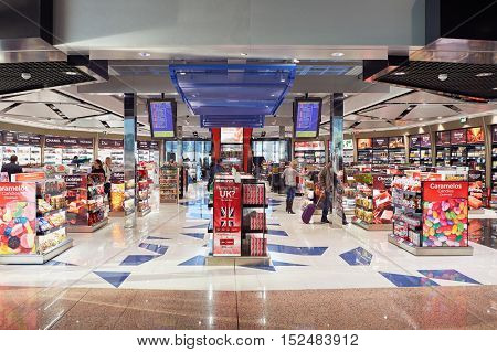 BARCELONA, SPAIN - CIRCA NOVEMBER, 2015: duty free shop at Barcelona Airport. Barcelona-El Prat Airport is an international airport. It is the main airport of Catalonia, Spain.