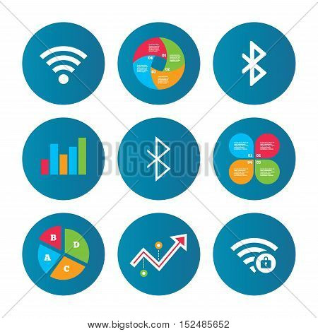 Business pie chart. Growth curve. Presentation buttons. Wifi and Bluetooth icons. Wireless mobile network symbols. Password protected Wi-fi zone. Data transfer sign. Data analysis. Vector