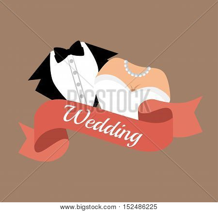 suit and bridal gown wedding design, vector illustration  graphic