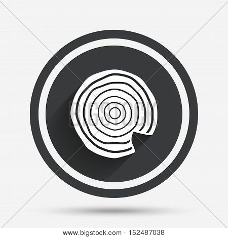 Wood sign icon. Tree growth rings. Tree trunk cross-section with nick. Circle flat button with shadow and border. Vector poster