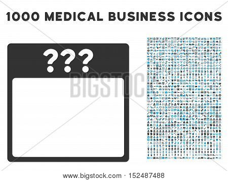 Blue And Gray Unknown Calendar Page vector icon with 1000 medical business pictograms. Set style is flat bicolor symbols, blue and gray colors, white background.