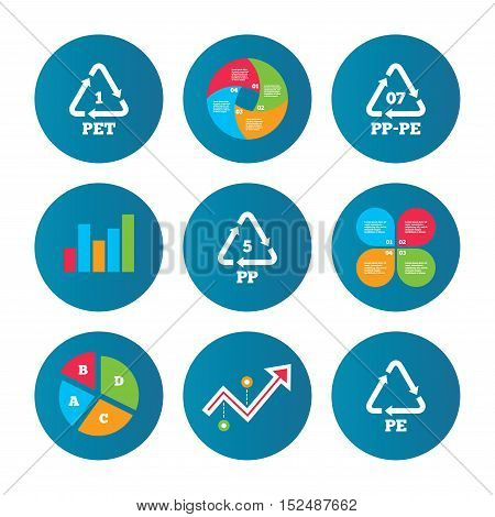 Business pie chart. Growth curve. Presentation buttons. PET 1, PP-pe 07, PP 5 and PE icons. High-density Polyethylene terephthalate sign. Recycling symbol. Data analysis. Vector