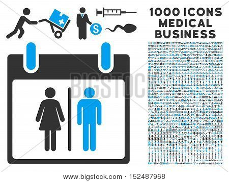Blue And Gray Water Closet Calendar Day vector icon with 1000 medical business pictograms. Set style is flat bicolor symbols, blue and gray colors, white background.