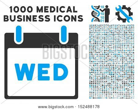 Blue And Gray Wednesday Calendar Page vector icon with 1000 medical business pictograms. Set style is flat bicolor symbols, blue and gray colors, white background.